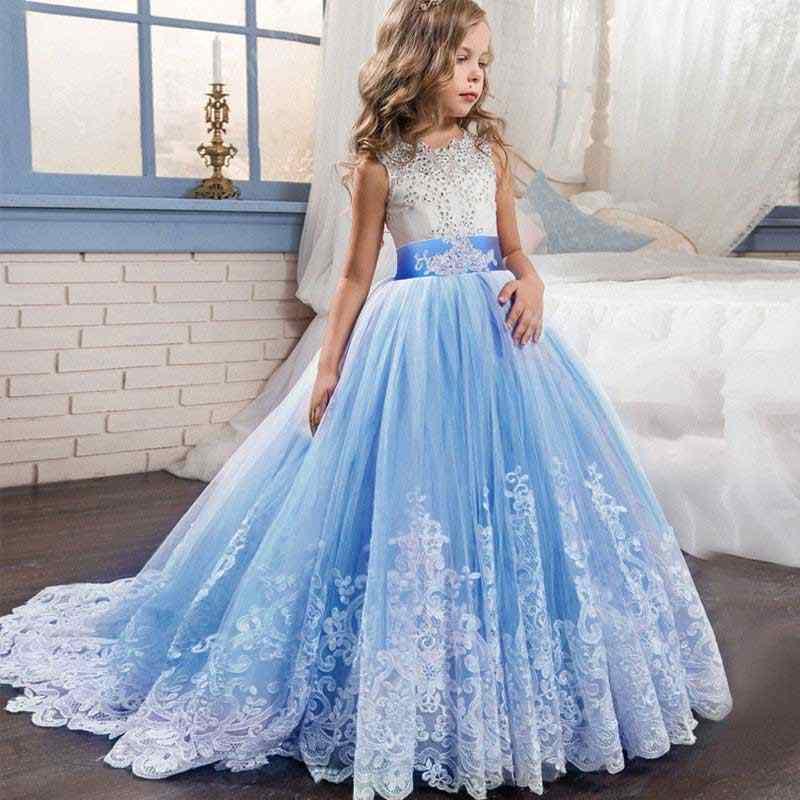 6 Colores Niña Encaje Boda Cumpleaños Fiesta Vestido Largo Noche Princesa Disfraz Flor Niña Vestidos Niños Ropa Adolescentes Niñas
