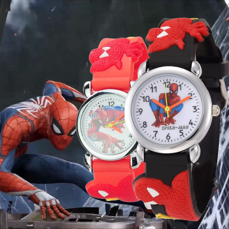 Hot Sale Spiderman Watch Children Cute Cartoon Kids Watches Rubber Quartz Wristwatches For Girls Boys 1-8th Birthday Gift Clock