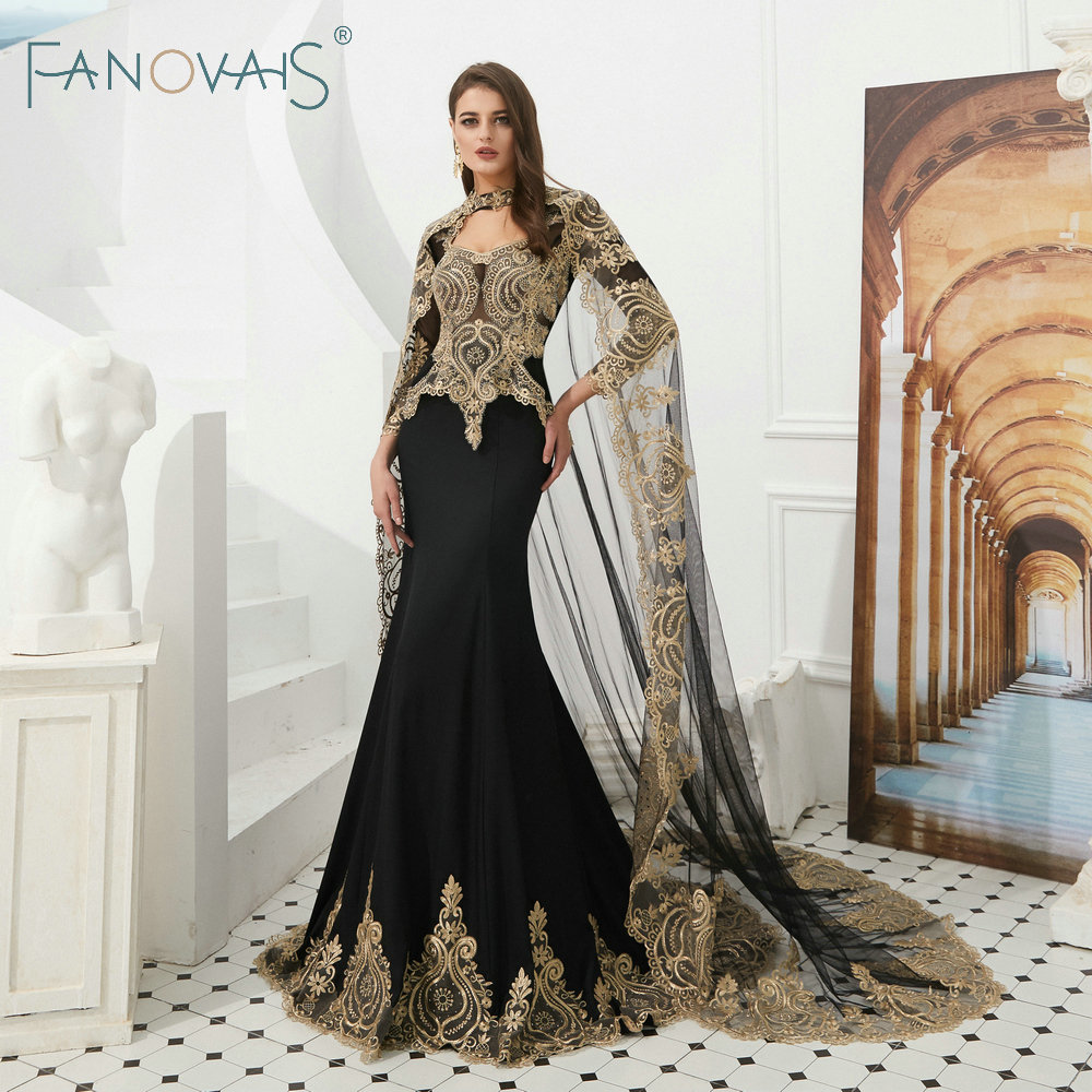Robes De soirée sirène noire avec Cape 2019 robes De soirée Vintage Robe De soirée arabe Robe De soirée Robe De soirée longue