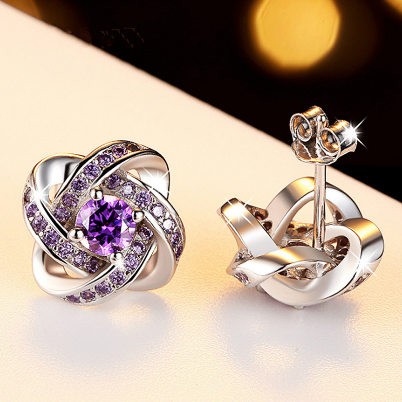 Modern Women 39 s Earrings 2018 White and Purple Zircon Clover Stud Earrings Silvering Trendy Stainless Steel Jewelry Accessories in Stud Earrings from Jewelry amp Accessories