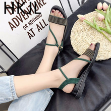 HKJL Fashion Strap sandals female 2019 summer new flat bottom monogrammed ribbon student Korean trend A186
