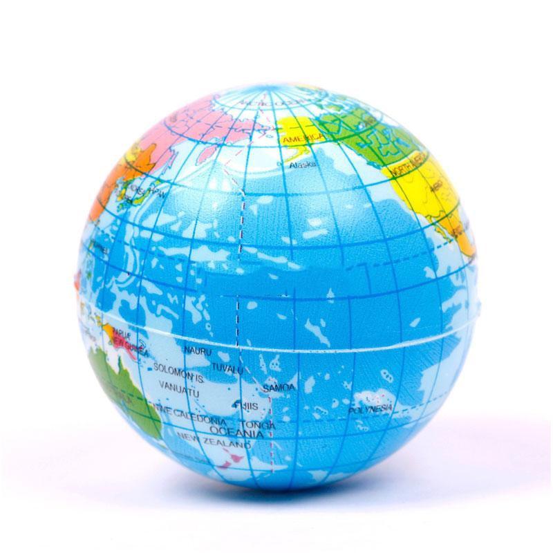 Earth Globe Stress Relief  Bouncy Foam Ball Kids World Atlas Geography Map##