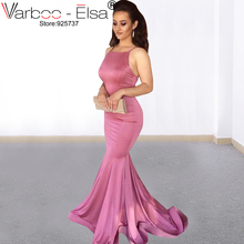 cd9d083b8ff VARBOO ELSA 2019 sexy Spaghetti Strap pink Prom Dresses Mermaid Satin African  Black Girls Evening Gowns Red