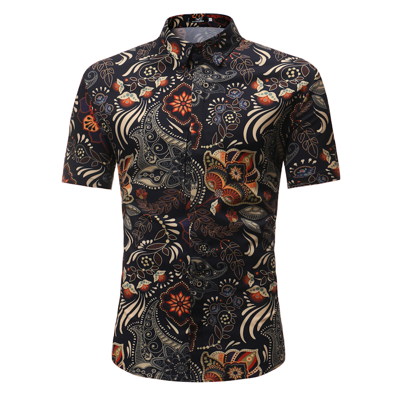 Men's Mandarin Collar Short Sleeve Shirt Print Cotton Blend Casual Shirt Clothing Fashion Men's Tops Clothes Single Breasted D40