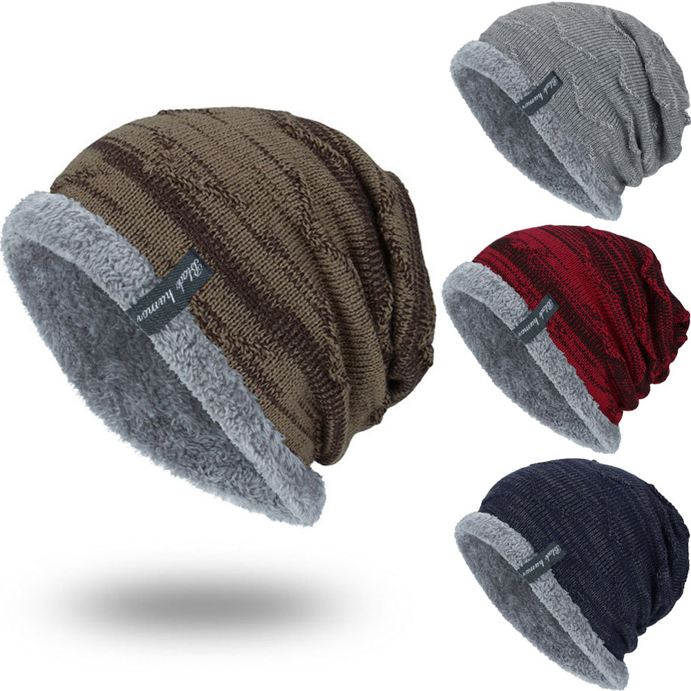 Boys Men Winter Hat  Knit Scarf Cap Warm Fur Skullies Beanie Bonnet Hat  Fleece dad cap Wool Hat Knitting gorros hombre invierno