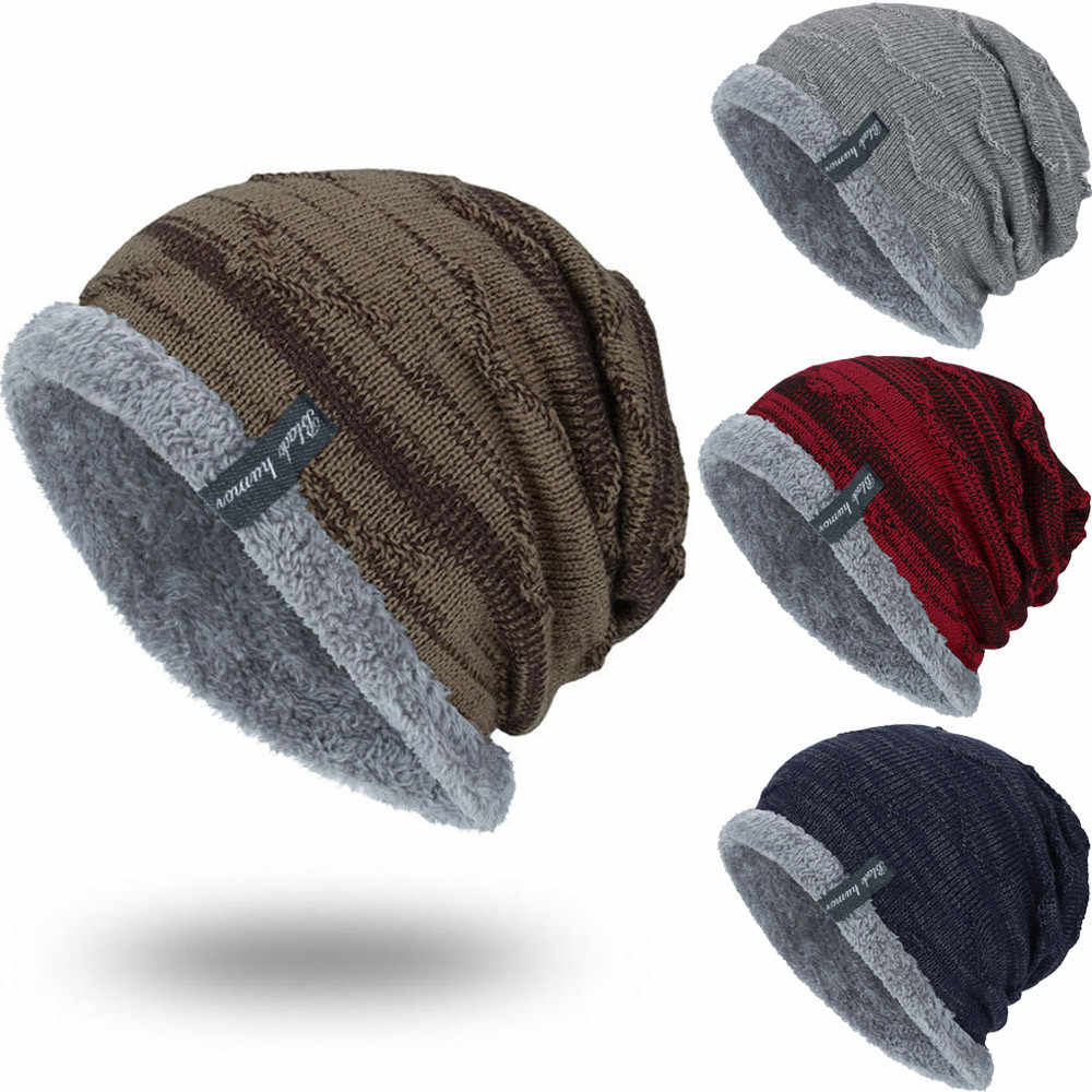 8e725fab3ec Boys Men Winter Hat Knit Scarf Cap Warm Fur Skullies Beanie Bonnet Hat  Fleece dad cap
