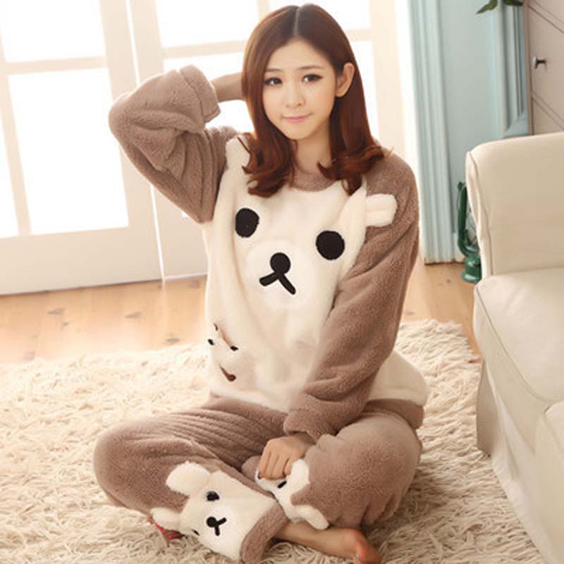 Autumn winter flannel   pajamas   thickening women sleepwear female coral fleece cartoon   pajama     sets   lovely bear lounge   set