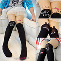 Fashion Spring/Autumn Baby Children Girls Tights Kids velvet pantyhose cute Cat/Bunny Knee lovely tattoo tights for 2~10 Y