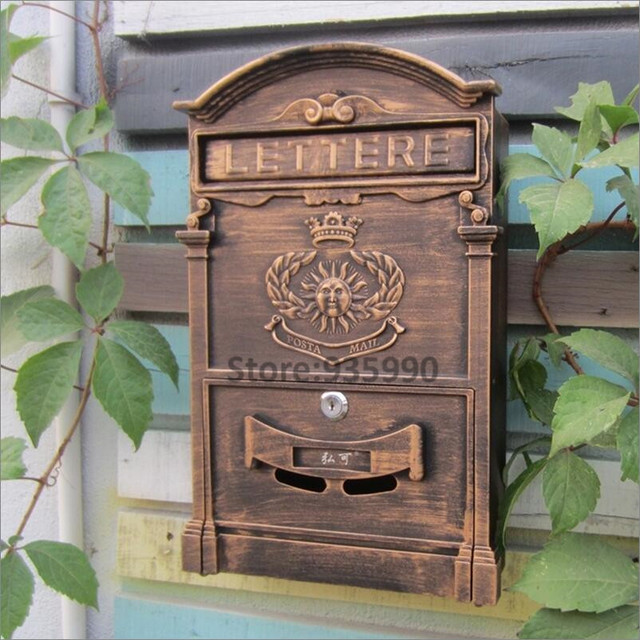 Pattern bronze vintage rustic iron mailbox sungod sign newspaper pattern bronze vintage rustic iron mailbox sungod sign newspaper mailboxes golden post box letter box waterproof spiritdancerdesigns Images