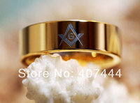 Free Shipping USA UK Canada Russia Brazil Hot Sales 8MM Golden Color Masonic Master Mens Tungsten Carbide Wedding Ring