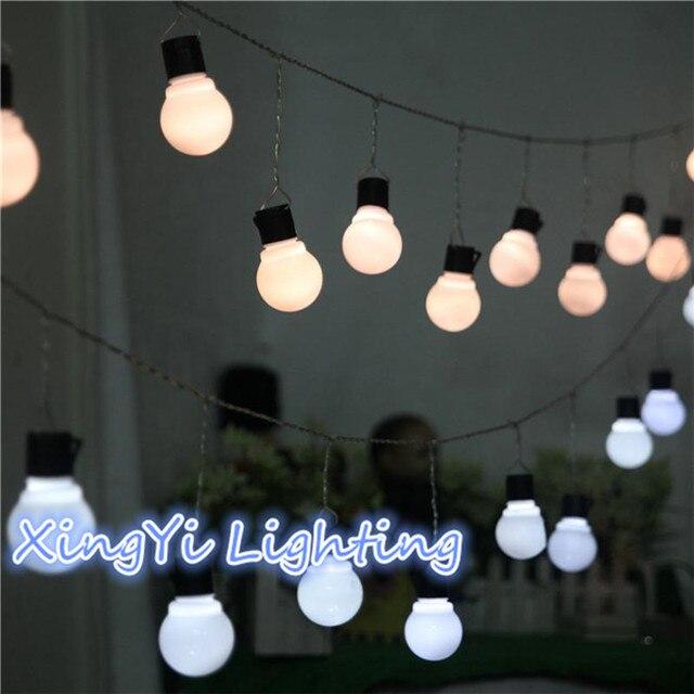 Novidade 5 CM Grande Bola de Natal Luz LED String 3 M 5 M 10 M Fada Cordas Garland Luzes Estreladas festa de Casamento de Iluminação Ao Ar Livre