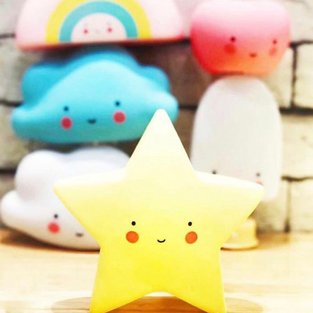 Kids Cute Star Face Shape Lamp Room Light Corridor Decor Small Night Light Bedroom Light  Gift Romantic Colorful Lights