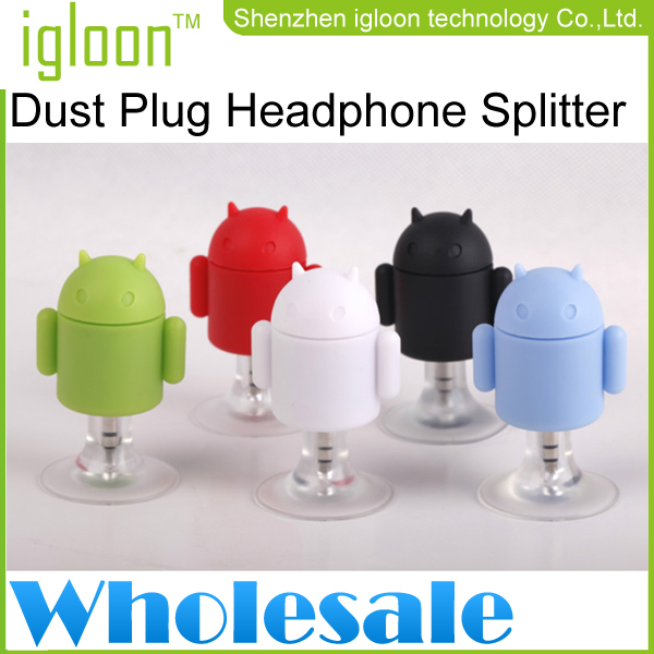 Free Phipping+wholesale 50 Pieces/Lot Android Mini Robot  Dust Plug Headphone Splitter Bracket