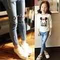 2016 осенью и зимой плюс толстый бархат теплые джинсы для девочек дикие кошки дети джинсы 2-14 лет дети брюки