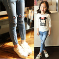 2016 autumn and winter plus thick velvet warm jeans for girls wild cat children jeans 2-14 years old children trousers