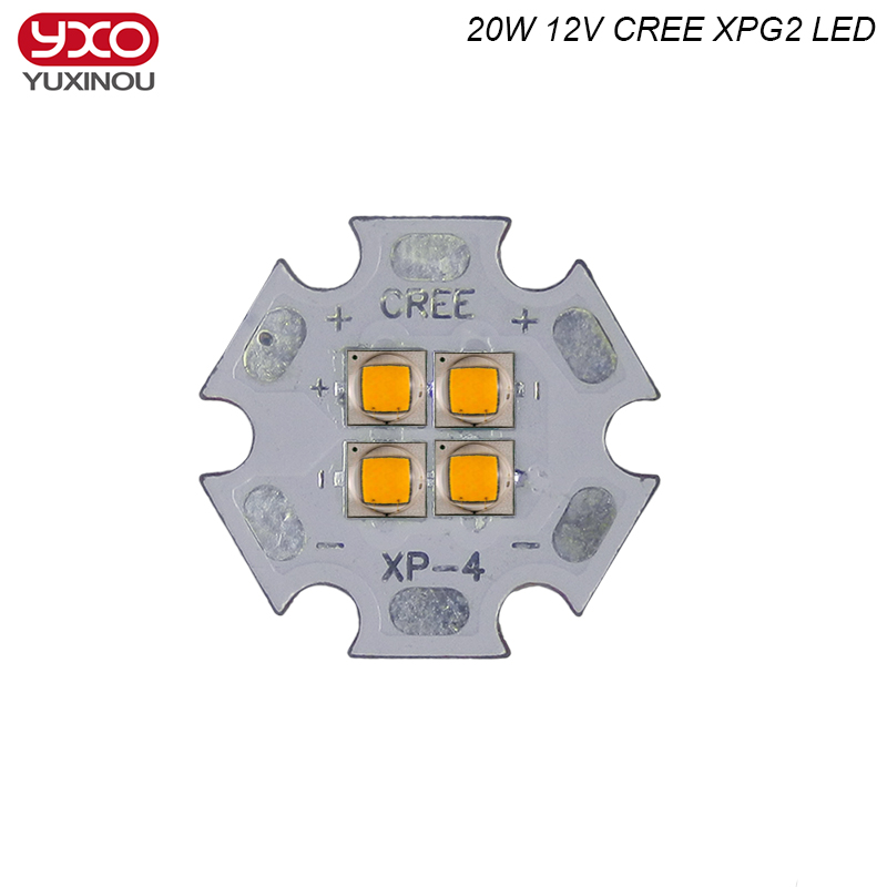 12V Cree XPG2 XP-G2 4Chips 4-18W 20W LED Emitter instead of MKR XHP50 Cool White Warm White LED with 20MM Cooper PCB auxmart triple row led chips 12 led