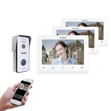 TMEZON  Wireless Wifi Smart IP Video Doorbell Intercom System ,10 Inch+2 x 7 Inch  Monitor with 1x720P Wired Door Phone Camera free fast shipping 7 wired video door phone access control doorbell intercom system kit set 2 monitors 1 camera with 2 buttons