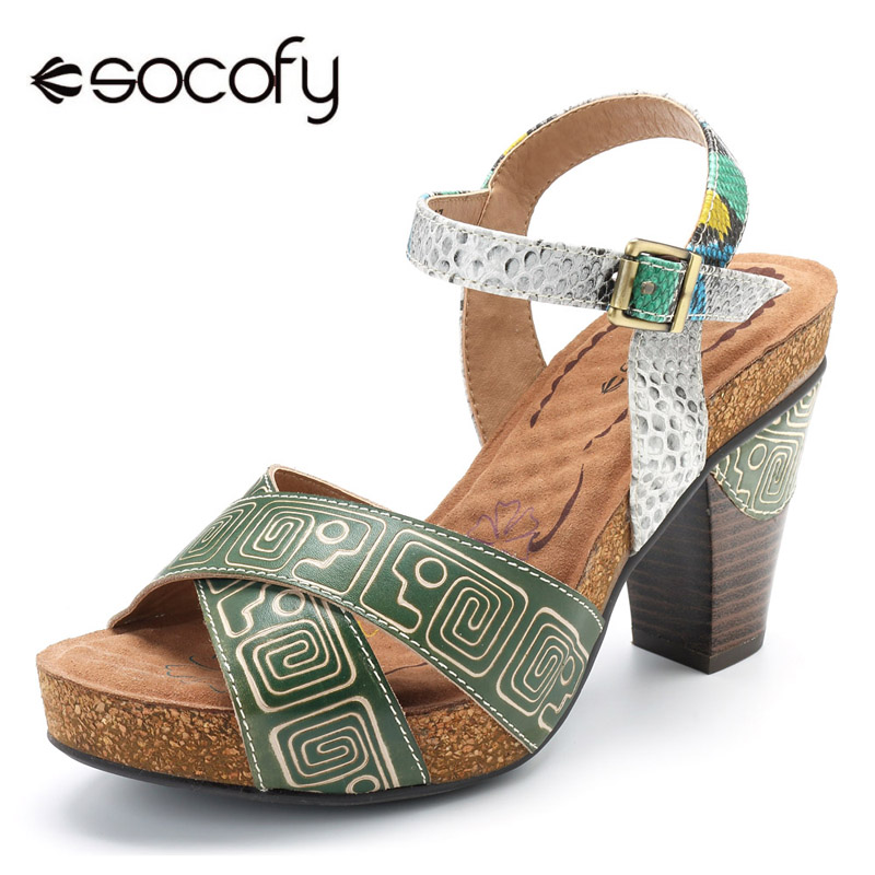 Socofy Bohemian Block High Heels Sandals Genuine Leather Shoes Ankle Buckle Cross-strap Sandals Peep Toe Summer Women Shoes red patent leather strappy sandals cut out ankle strap buckle high heel shoes peep toe cage shoes women summer dress shoes