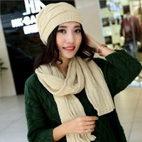 New Arrival Brand Twinset Scarf Hat Set Female Thermal Yarn Knitted Beret Winter Cold Proof Windproof