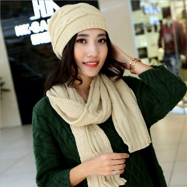 New arrival brand twinset scarf hat set female thermal yarn knitted beret winter cold-proof windproof women's warm wool twinset