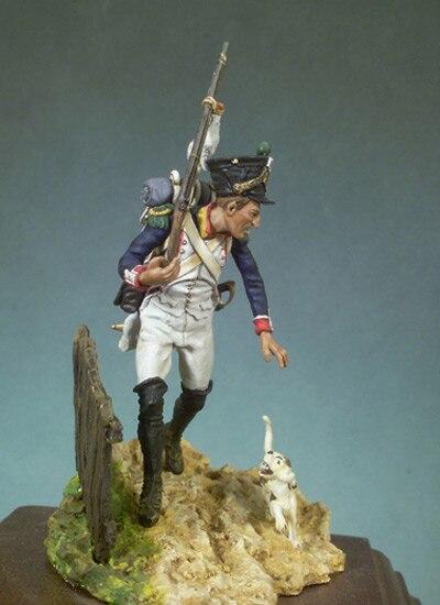 Unpainted Kit  1/ 32 54mm Napoleon Era Infantry Slodier With Dog 54mm   Historical  Figure Resin  Kit