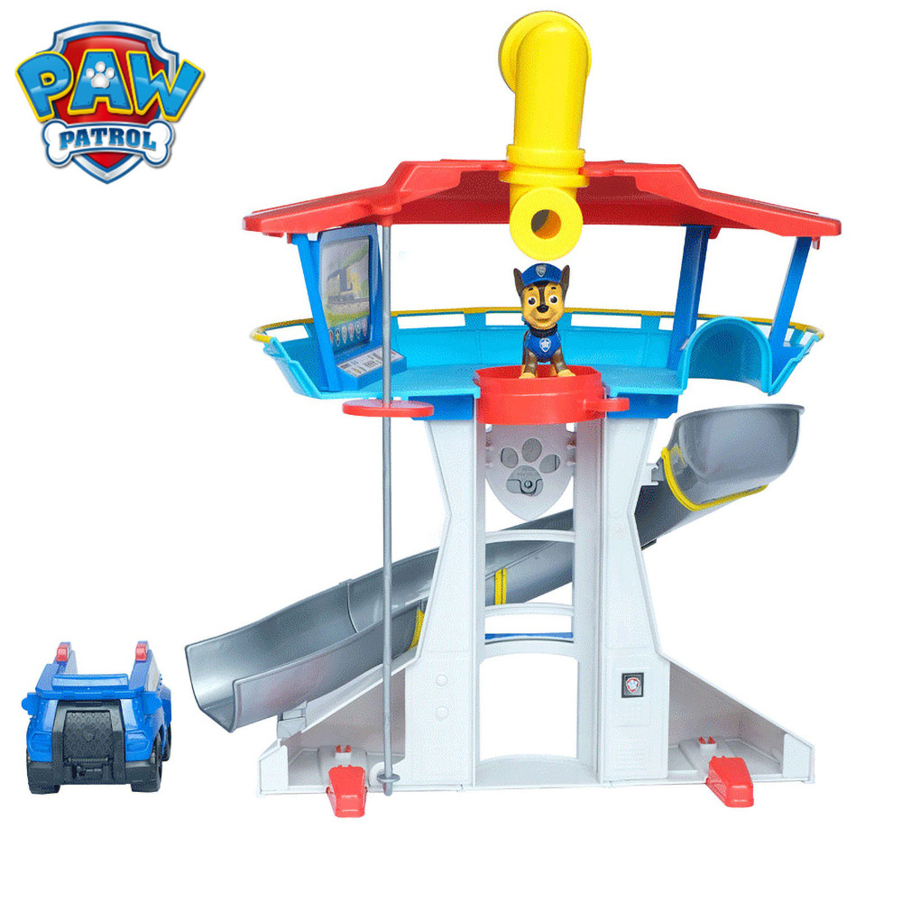Paw Patrol Children Educational Toy Girl Boy Play House Scene Toy Car Dog Mobile Rescue Car 360 Rotatio Watch Lookout Tower Set Aliexpress