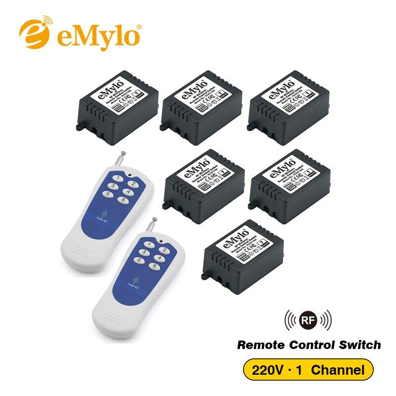 eMylo Switch AC220V 1000W 2X White&Blue Transmitter 6X 1 Channel Relays Smart RF Wireless Remote Control Light Switch 433Mhz new design y a4e 1000wx4 4 channel rf remote control wireless switch white 200 240v