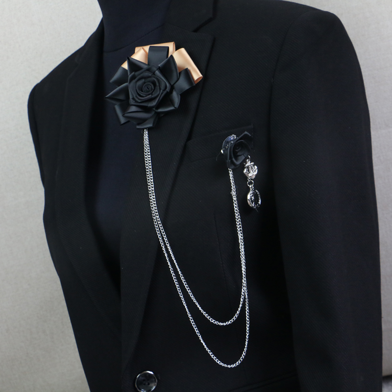 New Woman & Man Long Link Brooches Pins Personality Big Ribbon Flower Man Suits Corsage Rose Tassel Accessories Fashion Jewelry