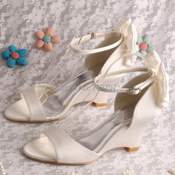 (20 COLORS)Off White Women Wedge Sandals Summer Wedding Shoes Ankle Strap  Size 7