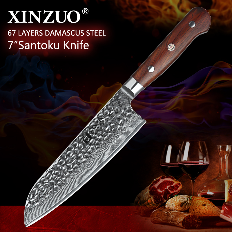 "XINZUO High Quality 7""inch Santoku Knives Damascus Steel Chef Kitchen Knives Sharp Cleaver Knives Gift Knife Rosewood Handle-in Keukenmessen van Huis & Tuin op  Groep 1"