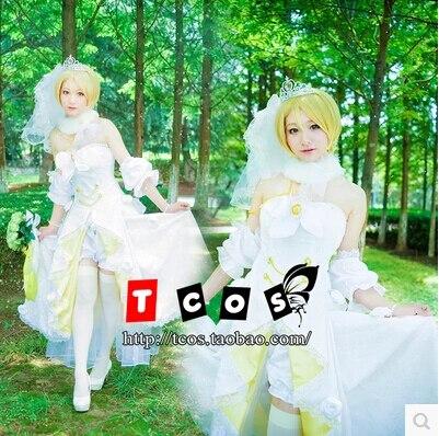 New Anime Love Live! Cosplay Koizumi Hanayo Cos Halloween Wedding Dress Full Set 4in1(Dresses+Shorts+Headwear+Neck ornaments)