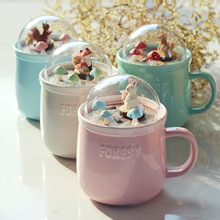 Forest Micro-landscape Ceramic Cup Creative Cartoon Mug And Lid Squirrel Coffee Home Breakfast Milk Rabbit Mugs Gift
