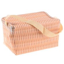 Fashion Portable Imitation Rattan Lunch Bag Waterproof Insulated Thermal Cooler Lunch Box Picnic Container Storage Bag Pouch(China)