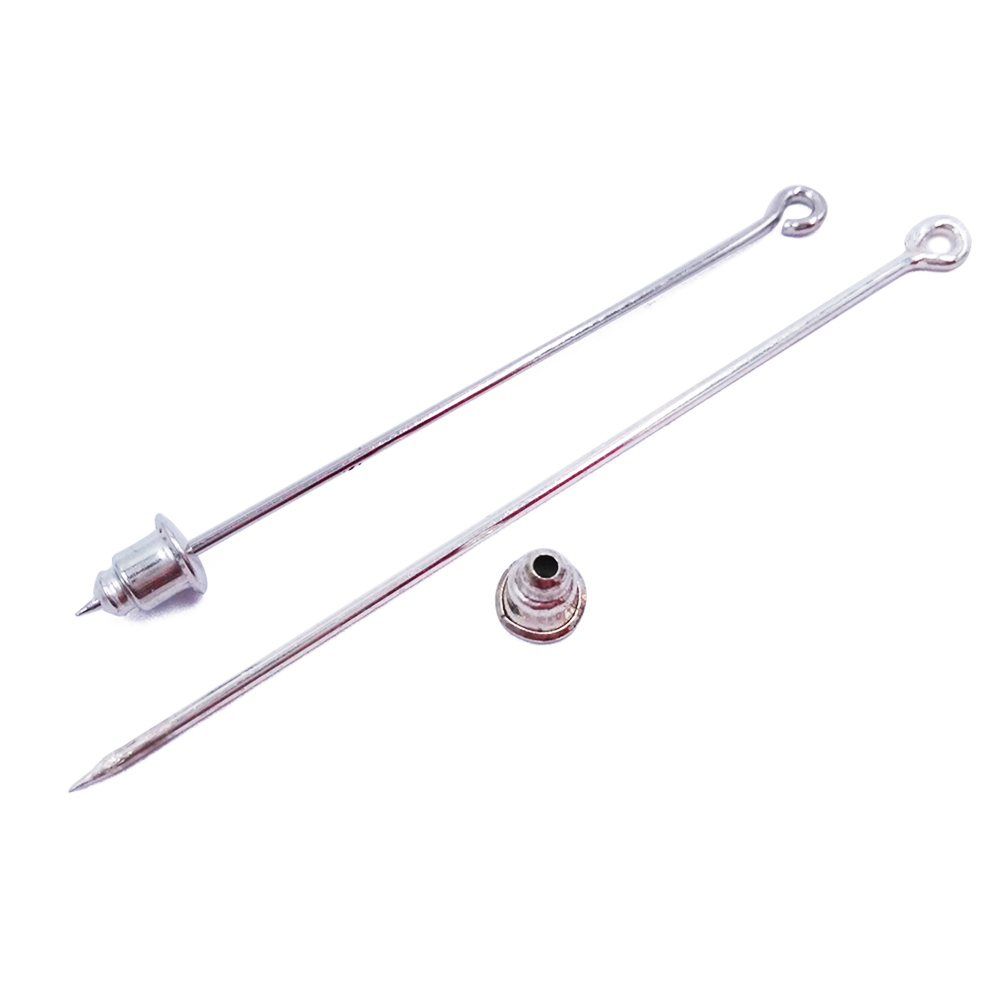 Silver Plated 500peices 50mm 60mm 70mm Sharp Tip Muslim Hijab Pins Stick Bullet Backs Brooches Safety Scarf Pins MHP06