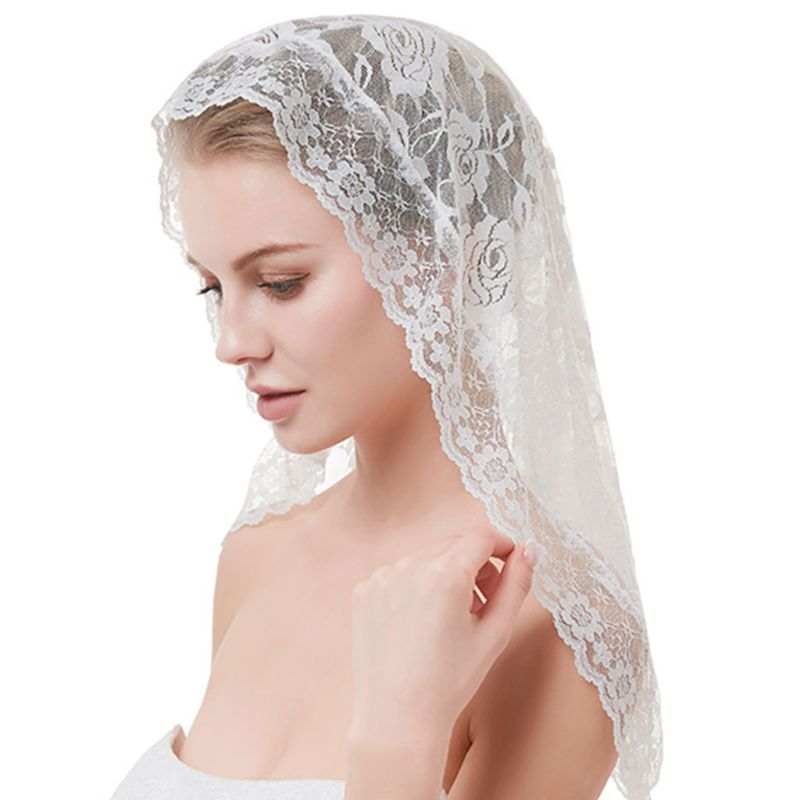 Women Short Wedding Veil Delicate Crochet Floral Lace Jacquard Scalloped Trim Bridal Veil Face Cover No Comb