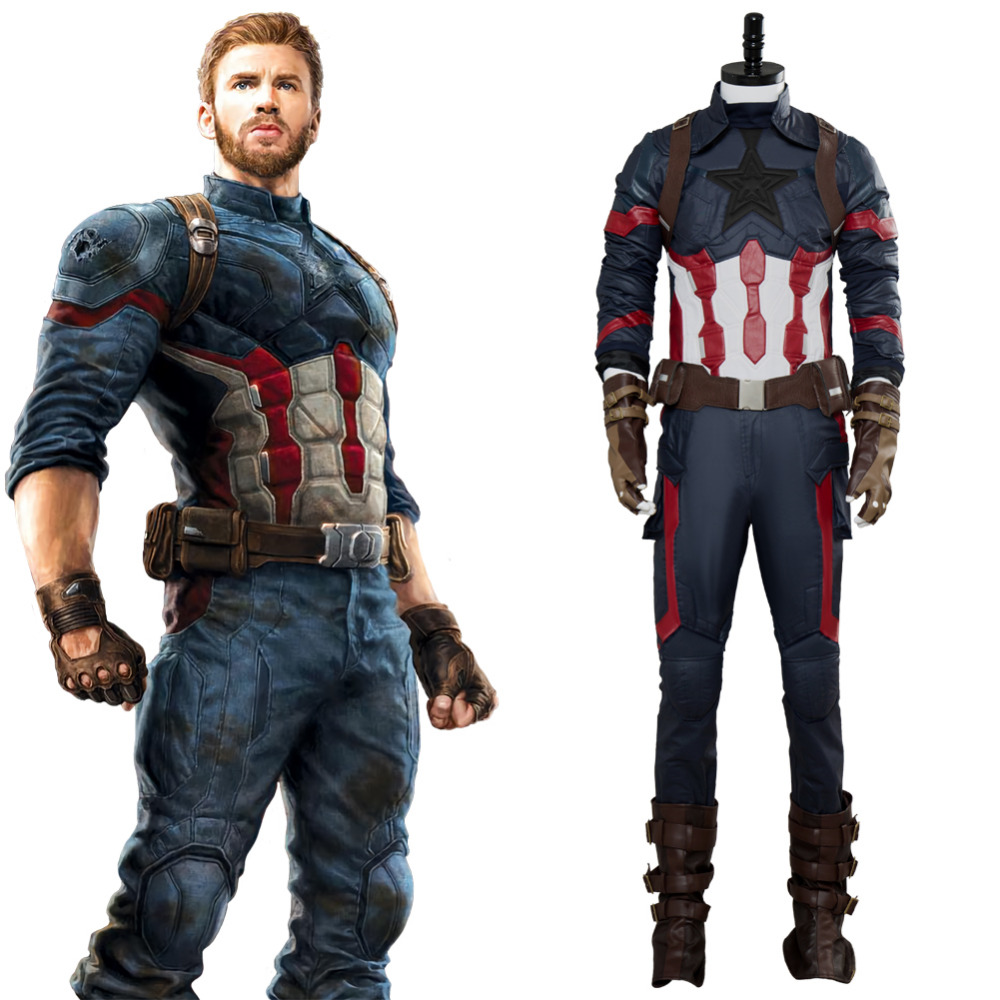 (In Stock)Avengers: Infinity War Captain America Steve Rogers Cosplay Costume Adult Men Halloween Carnival Cosplay Costumes