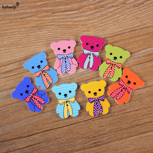 50pcs 2 Holes Colorful Bear Wooden Button Fit Sewing and Scrapbooking 16x30mm Buttons For Craft DIY Mixed YYJ0