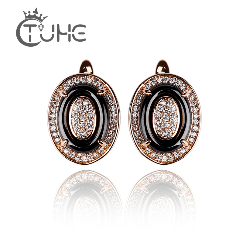 Hot Sale Egg Shape Earrings Set Ladies Rose Gold Silver Crystal Europe And The United States Korea Ceramic Jewelry Gift