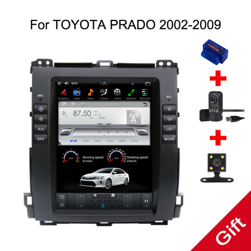 10,4 Тесла Android 7,1/6,0 Fit Toyota Land Cruiser Prado 120 2002 2005 2006 2007 2008 2009 dvd плеер навигационная gps радио