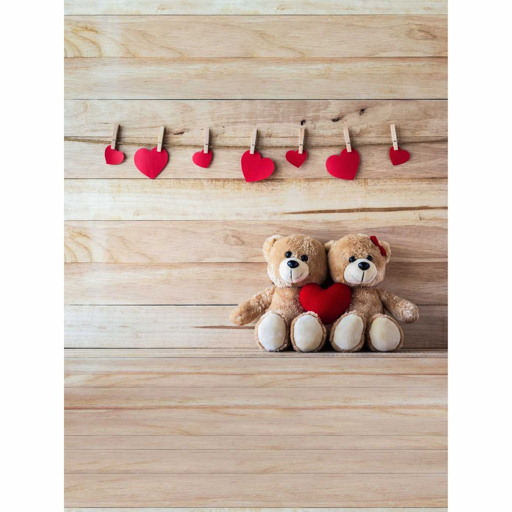 vinyl 5x7ft small red heart teddy bear background for kids birth