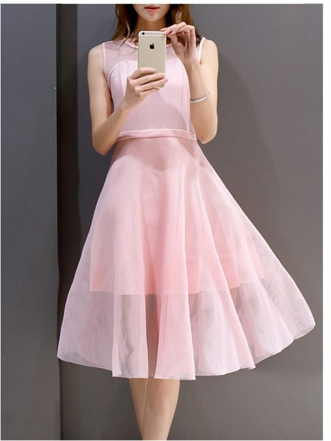 36d3b7cd39 2016 Women s new design organza pink dresses girls occation nice pretty  dress black sleeveless slim elegant