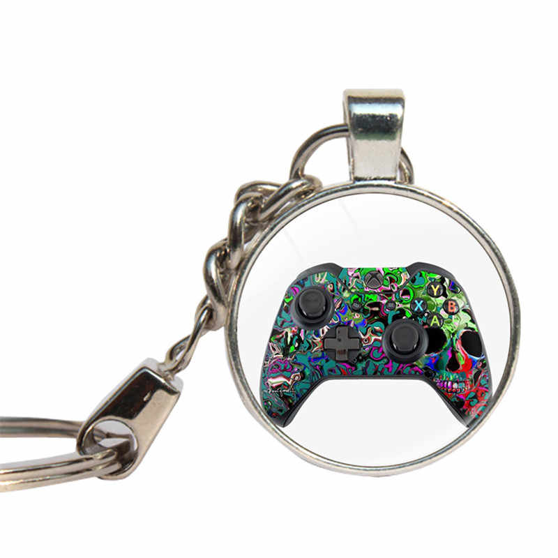 Video Game Handle Keychains Glass Dome Geeky Gifts For Boyfriend Key Rings Game Controller Key Chain Glass Cabochon Key Holder