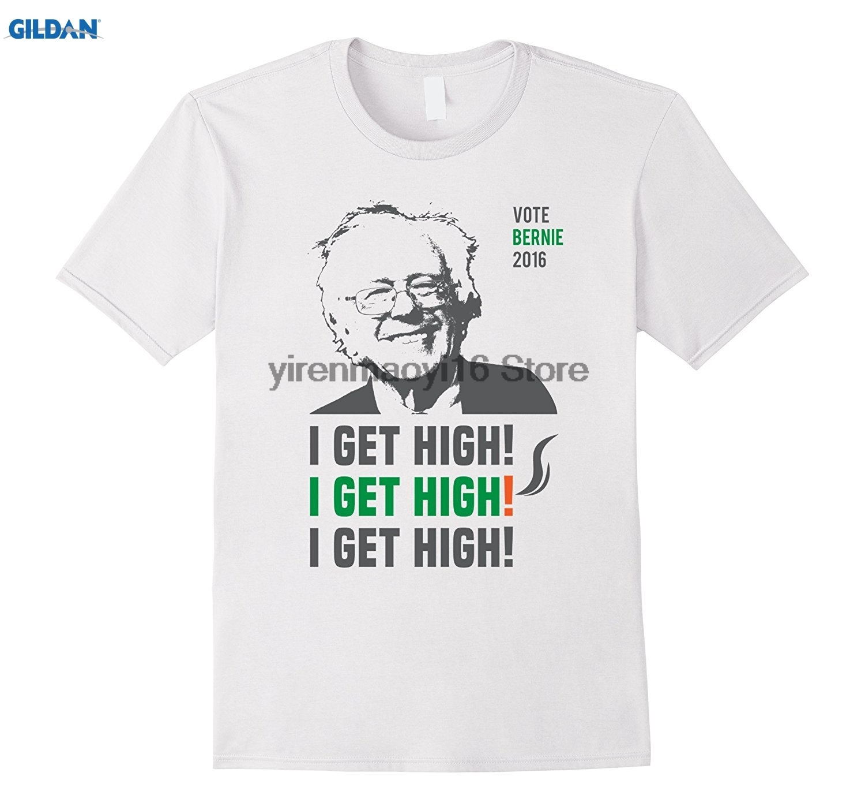 GILDAN 100% cotton O-neck printed T-shirt Bernie Sanders I Get High T-Shirt