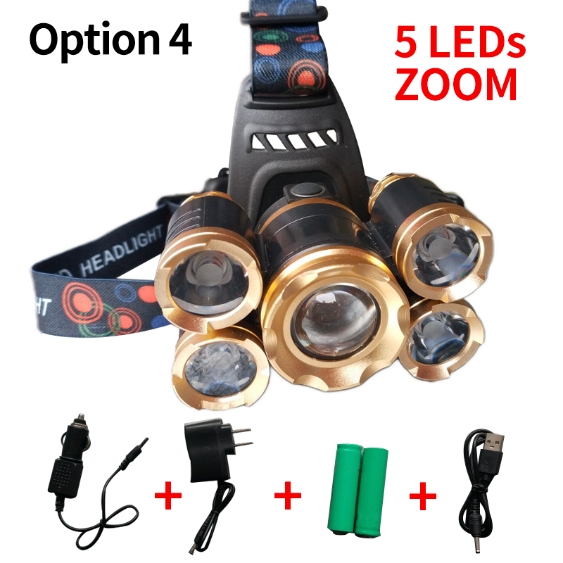 LED headlamp Strong light 5 LED headlight headlamp high-power outdoor fishing light fishing lights charging T6 headlights/85