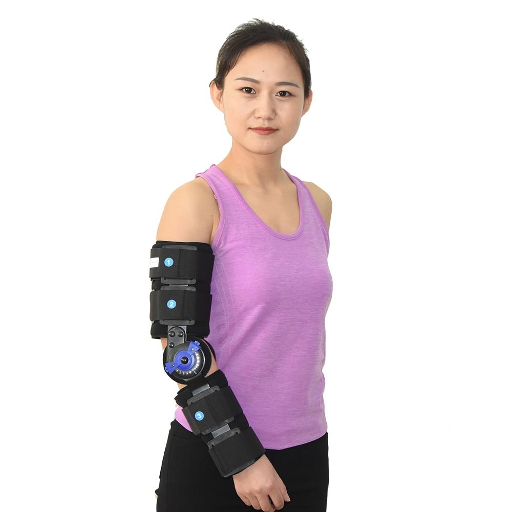 ROM brazo del codo con bisagras soporte de los soportes de la correa de la almohadilla ortopédica-in Abrazaderas y soportes from Belleza y salud    3