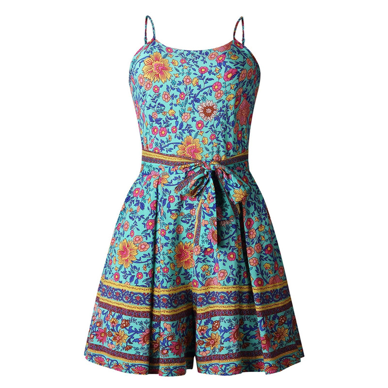 Leviortin Designer Jumpsuit High Quality Women Floral Romper With Belt Bohemian Strapless Boho Flower Print Beach Playsuit  (1)