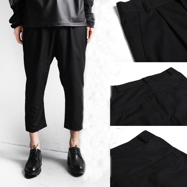 2016 Primavera Estilo Britânico Fresco Cropped Calças Slim Fit Moda de Todos Os Jogos dos homens Casual Preto calças de Comprimento No Tornozelo Harem Pants