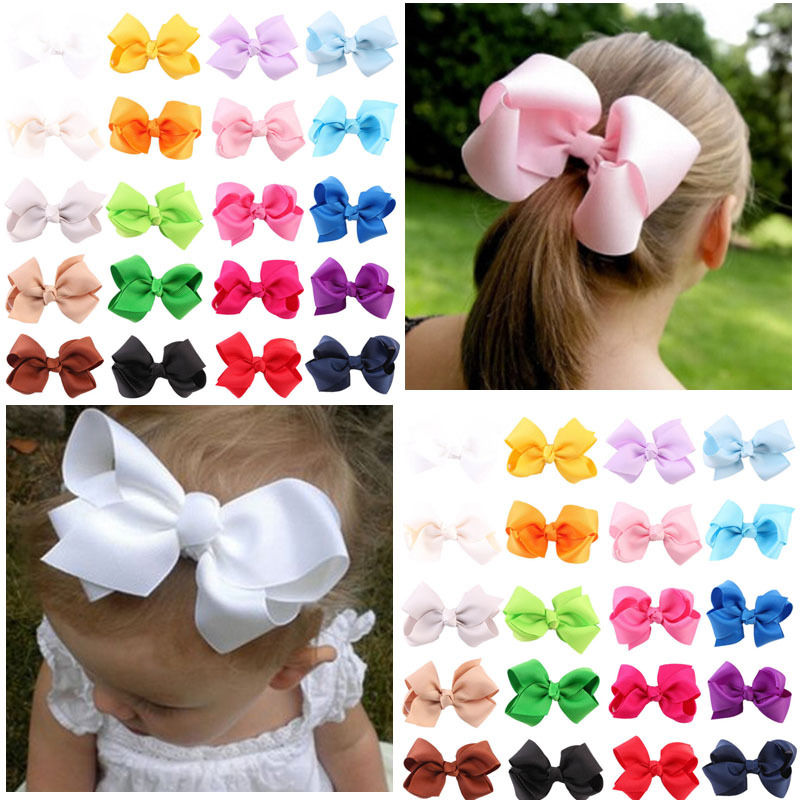 Girl Kids Small Solid Ribbon Bow Hair Clip Baby Barrette Hairpin Accessories New