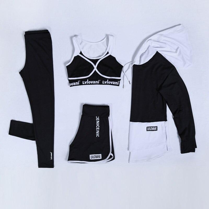 2018 Nouveau Femmes De Yoga Ensemble Respirant Noir et Blanc Gym Vêtements À Capuche Chemise + Soutien-Gorge + Pantalon + Shorts 4 Pcs M-3XL Grande Taille Costume de Sport