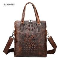 Brand Business Luxury Genuine Leather Alligator Handbag Real Cowhide Laptop Briefcase Man Bags Shoulder Bag YS1310